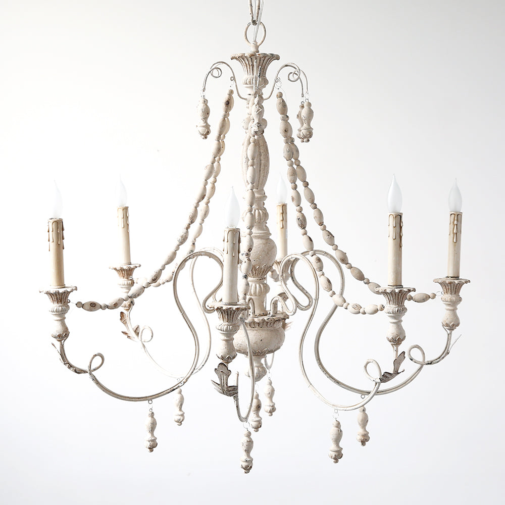 White 6 Light Chandelier