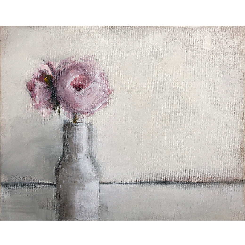Mary Gregory Original Painting - Pink Roses in White Vase - Horizontal Landscape