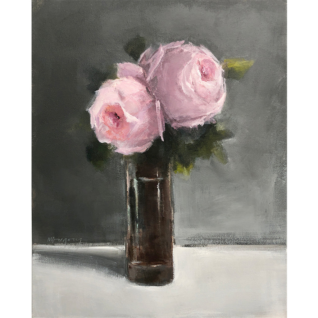 Mary Gregory Original Painting - Pink Roses Dark Back
