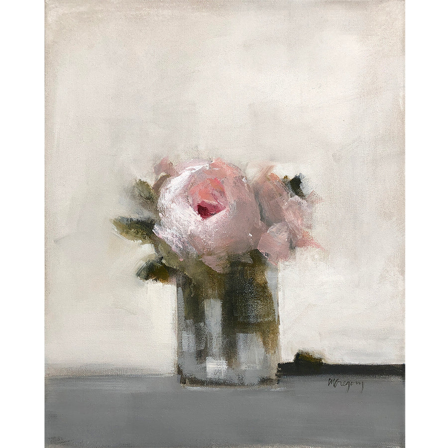 Mary Gregory Original Painting - Pink Roses in Vase