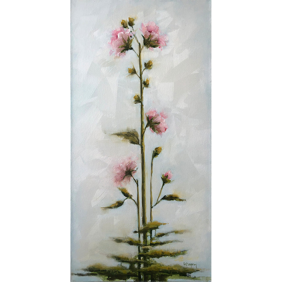 Mary Gregory Original Painting - Pink Hollyhocks