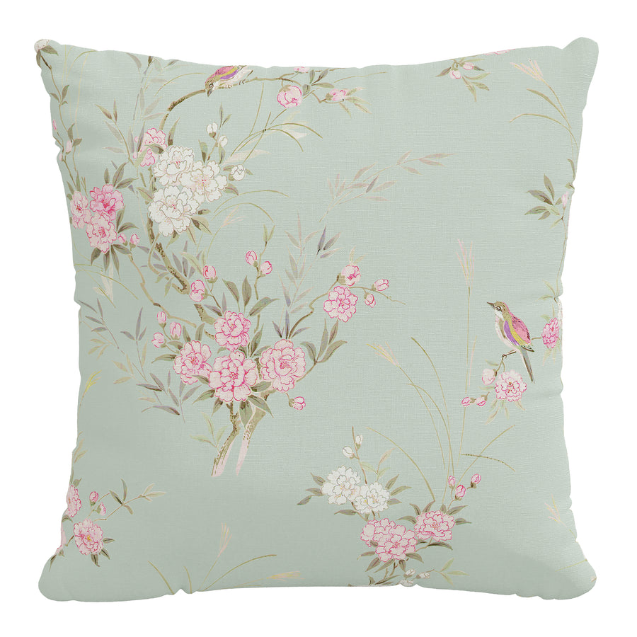 Rachel Ashwell x Cloth & Company - Linen Pillow - Bird Chinoiserie Green