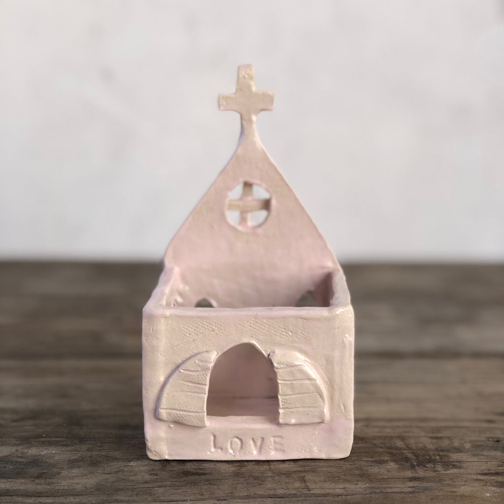 Laura Venosa Original Art - Pink Chapel No Roof