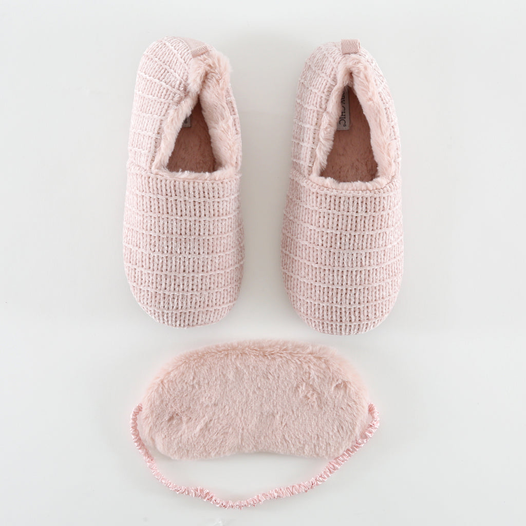 Pink Velour Slipper and Mask Set