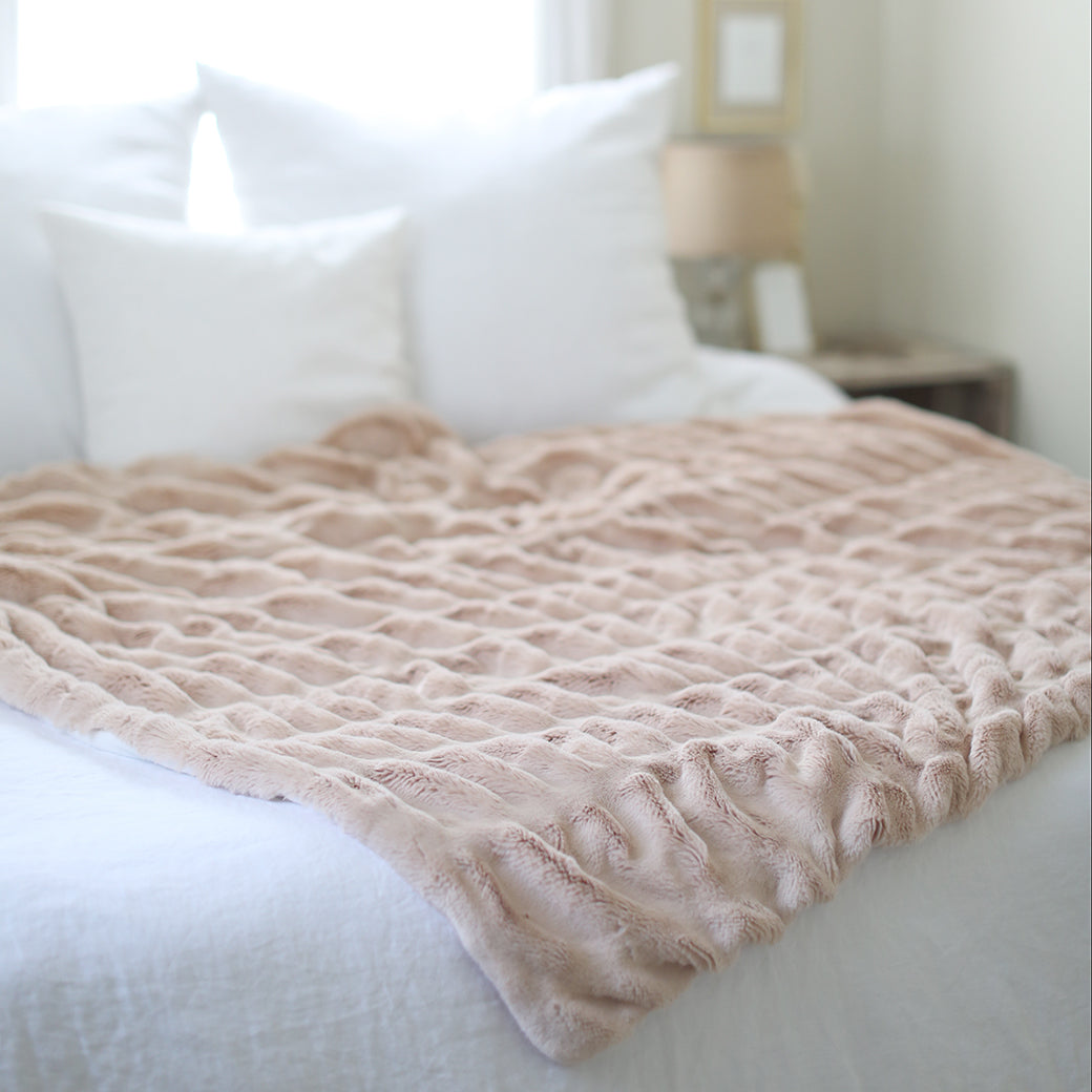 Blush Mink Faux Fur Throw