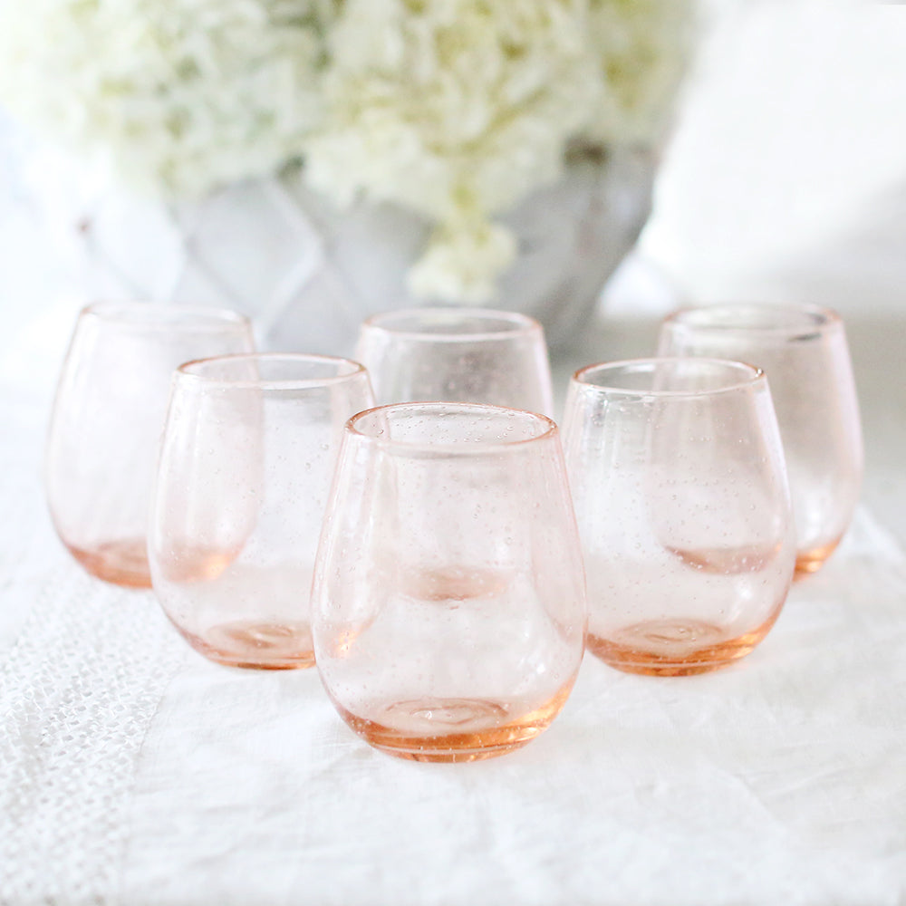 Bubble Glass Rose Stemless Glasses