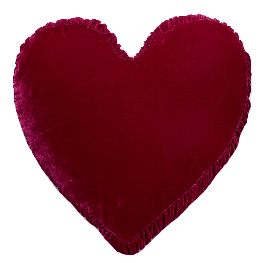 Velvet Heart Pillow - Berry