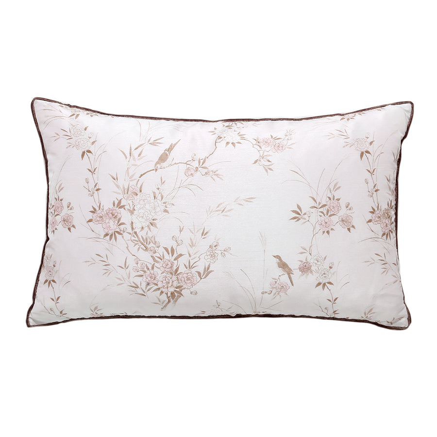 Pink Chinoiserie Faux Silk with Brown Velvet Trim Pillow