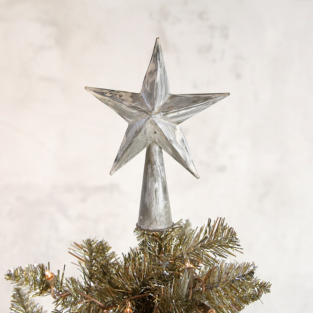 Star Tree Topper in Antiqued White
