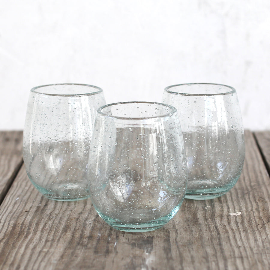 Bubble Glass Pale Green Stemless Glasses