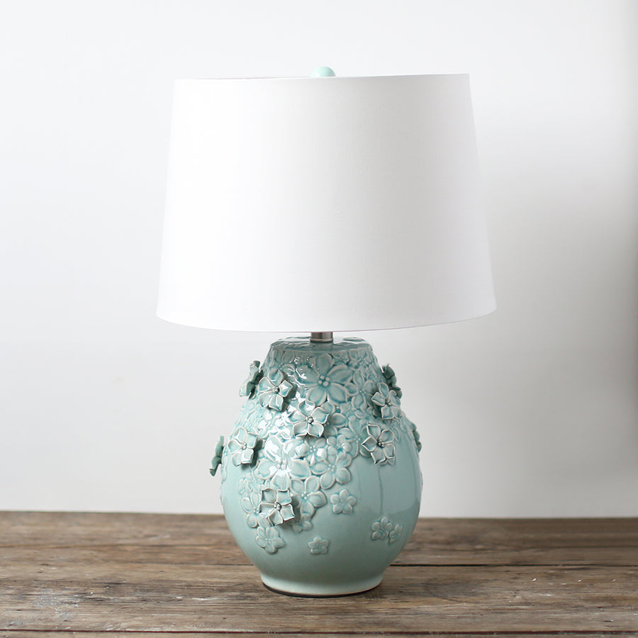 Robins Egg Floral Ceramic Lamp