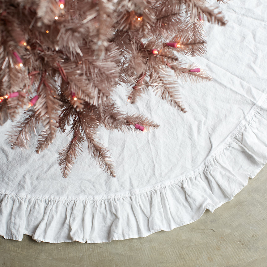 Ruffle Tree Skirt-White
