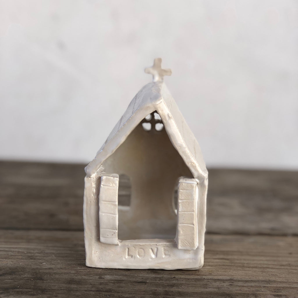 Laura Venosa Original Art - White Chapel with Roof