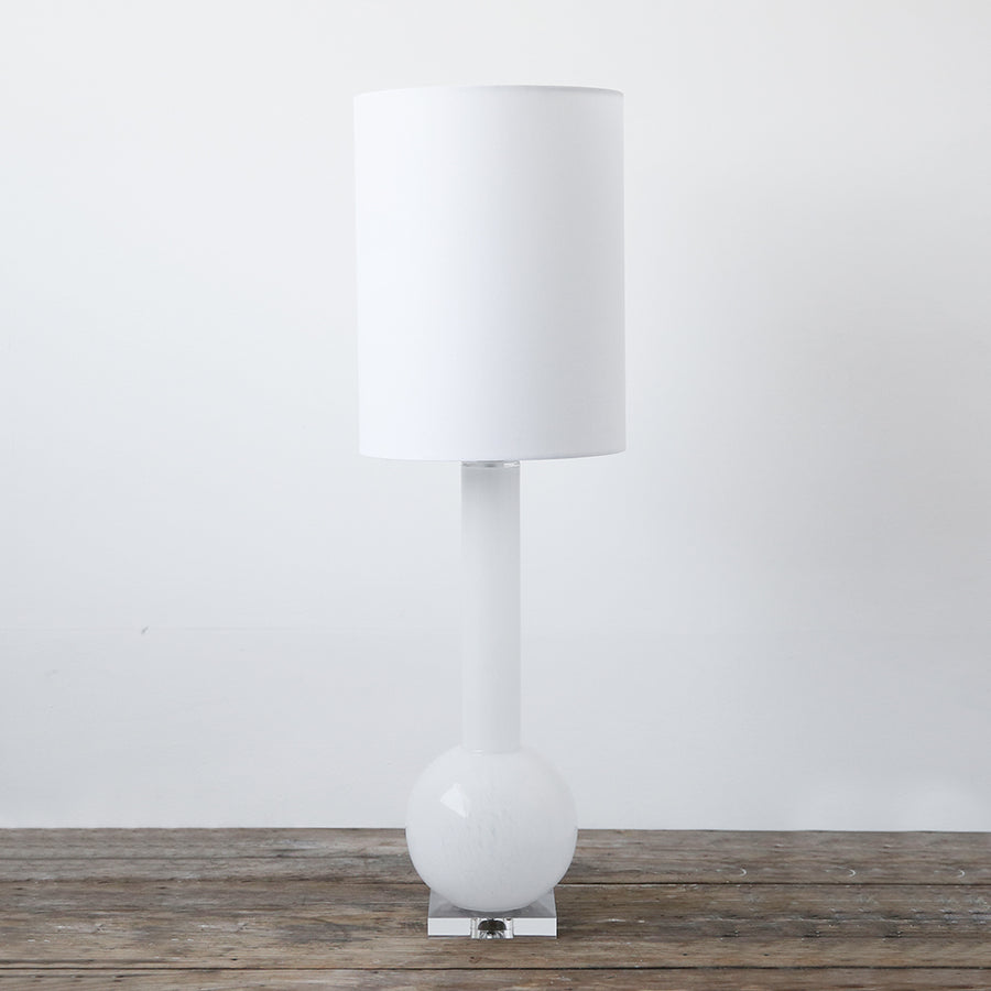 Duchess White Glass Lamp