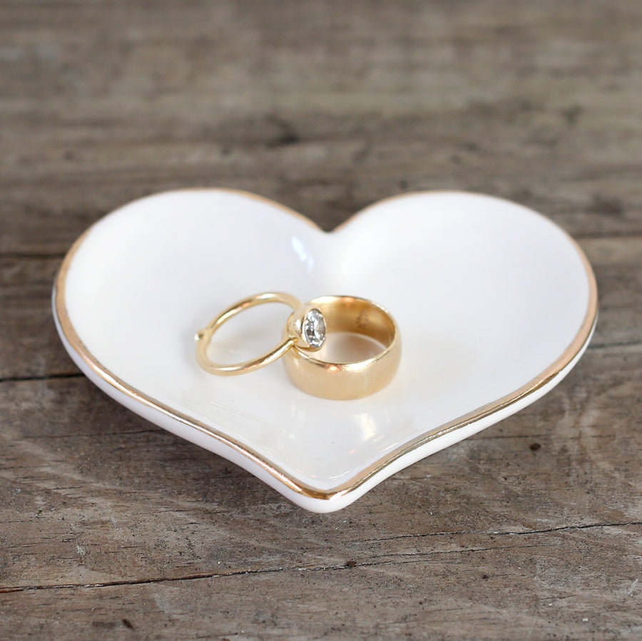 White Heart Dish with Gold Trim