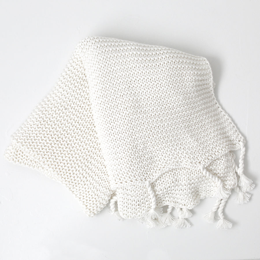 Tassel Cotton Knit Throw - White
