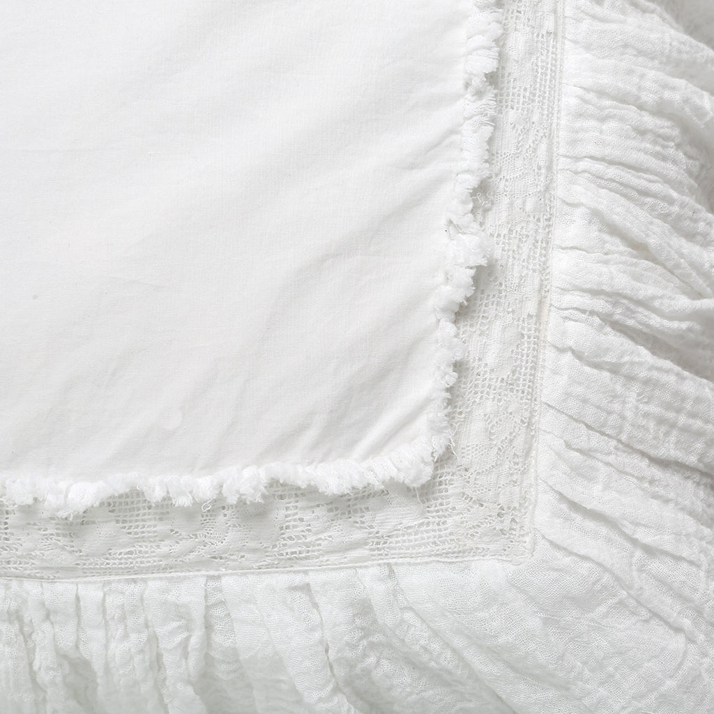 White Raw Edge Gauze Euro