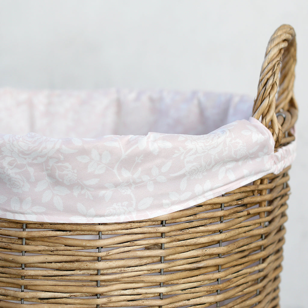 Shabby Chic Storage -  Natural /Pink Floral Hamper