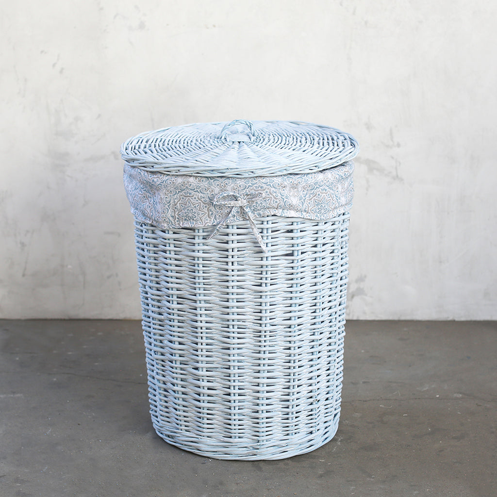Shabby Chic Storage -  Blue Willow Hamper With Lid