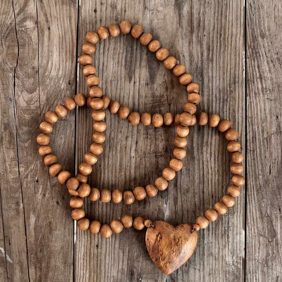 Wood Heart Prayer Beads