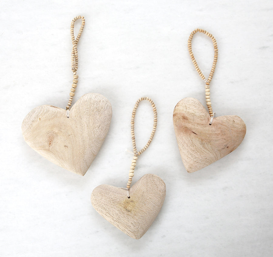 Decorative Wooden Hearts - Set of 3