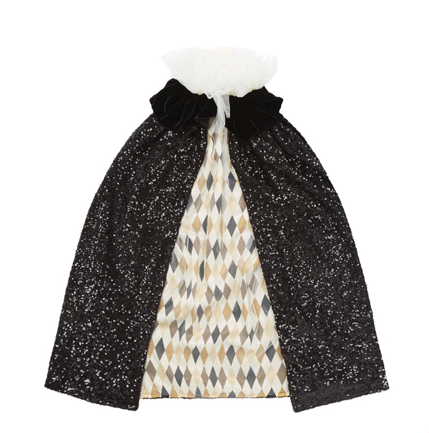 Couture Children's Costumes by Pearl Lowe - Black Sequin Pierrot Cape w/ Harlequin Lining