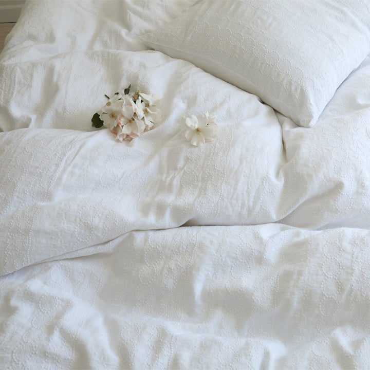 Boho White Embroidered Bedding Collection at Rachel