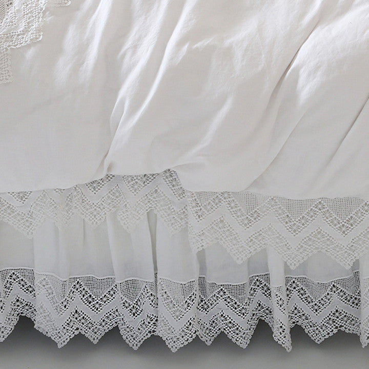 White Cluny Lace Bedskirt