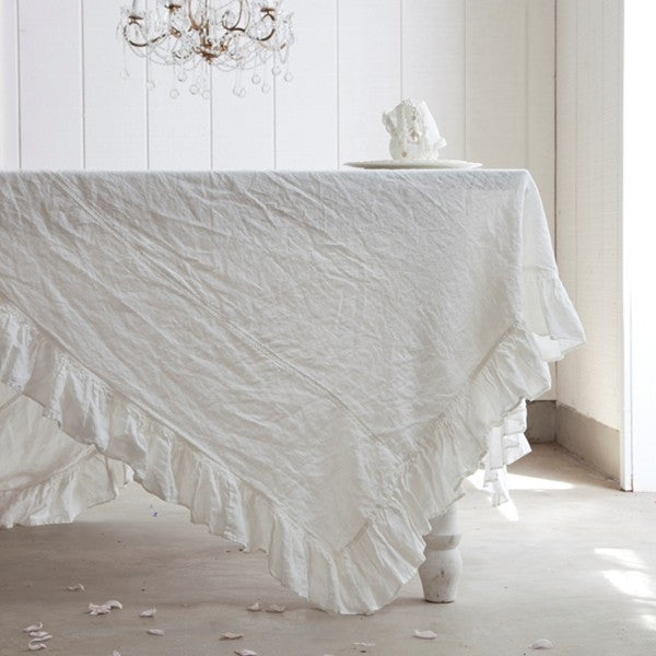 Linen Ruffle Tablecloth From Rachel Ashwell Shabby Chic