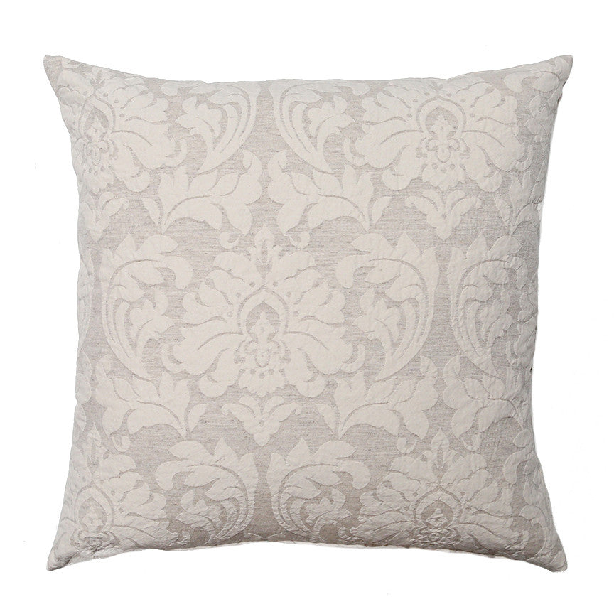 Beige Puckered Damask Pillow