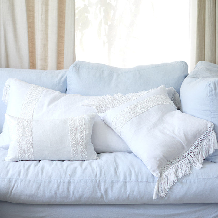 25% OFF White Linen with Inset Crochet and Fringe Trim Pillow