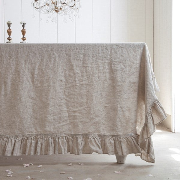 Grain Linen Single Ruffle Tablecloth