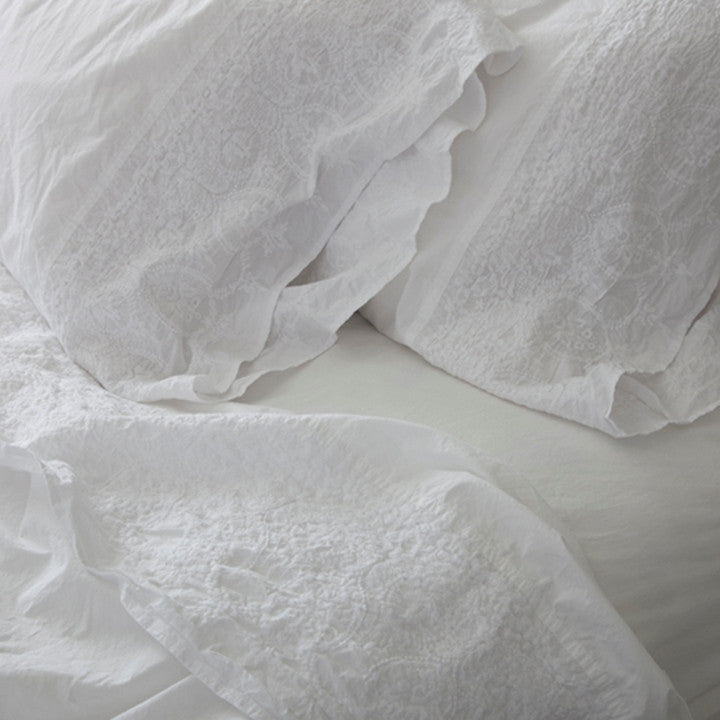 Embroidered Hem White Sheets & Shams by Rachel Ashwell