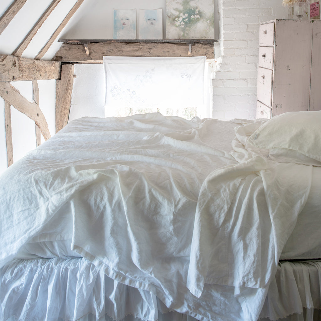 New Angel White Linen Sheets