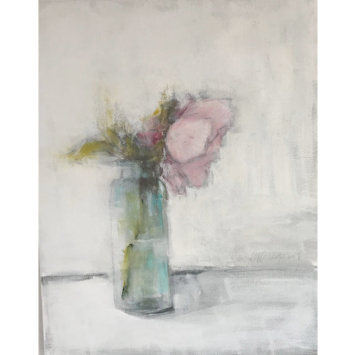 Mary Gregory Original Painting - Pink Peony in Aqua Vase
