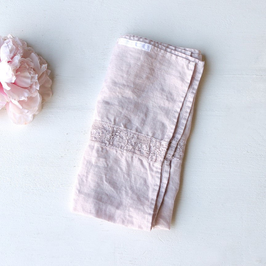 Lace Inset Napkin Dusty Pink