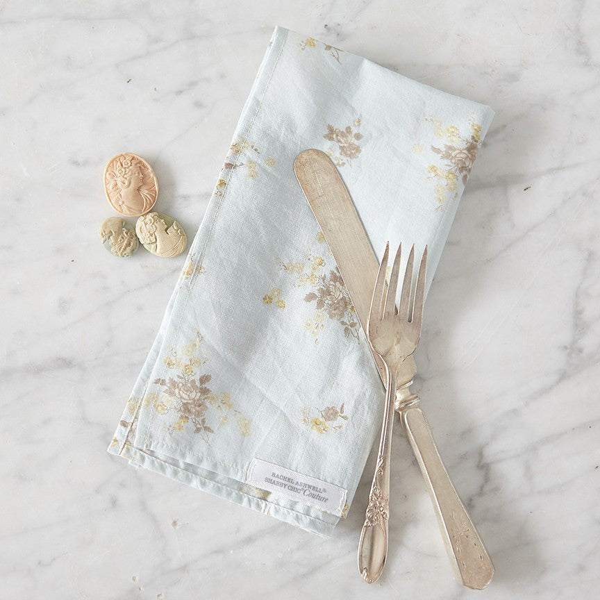 Rosey Bouquet Teal Napkin