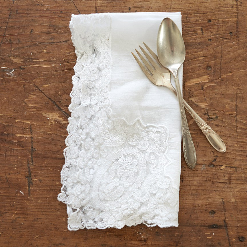 Lace Edged White Napkin
