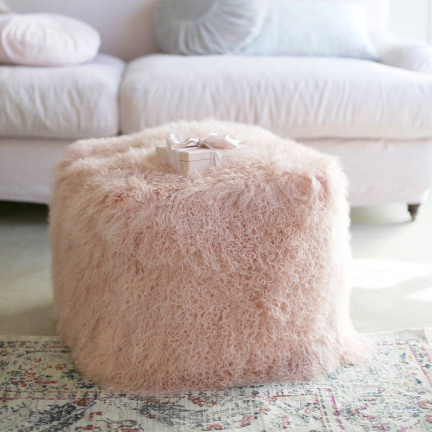 Rose Fur Pouf