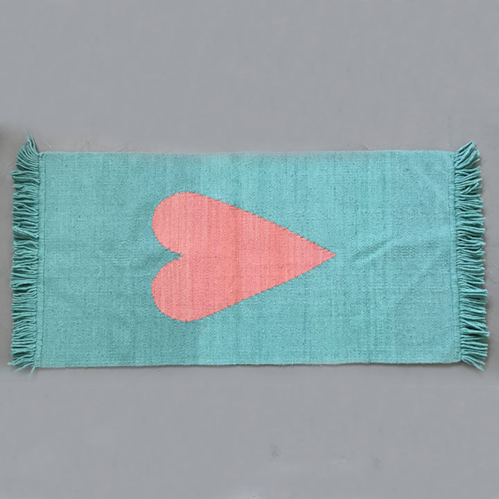 Large Heart Rug Large- Teal with Pink