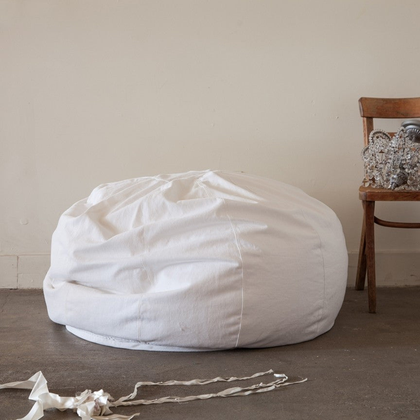 White Denim Bean Bag