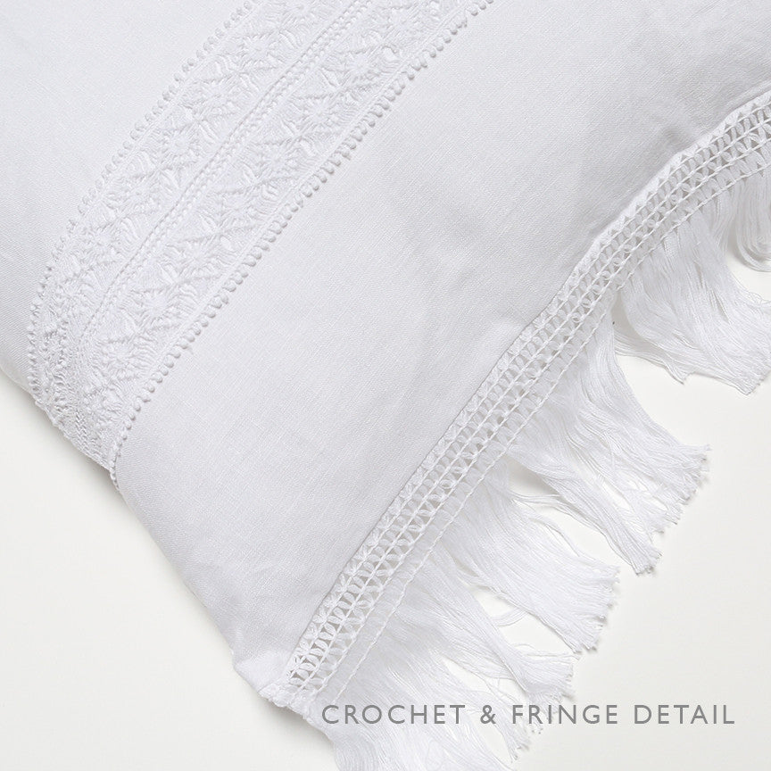 White Linen with Inset Crochet and Fringe Trim Pillow