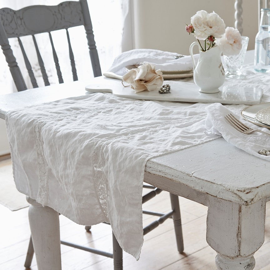 Lace Inset White Runner