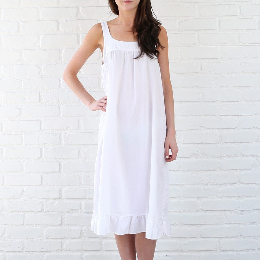 White Cotton Silk Jacquard Nightie