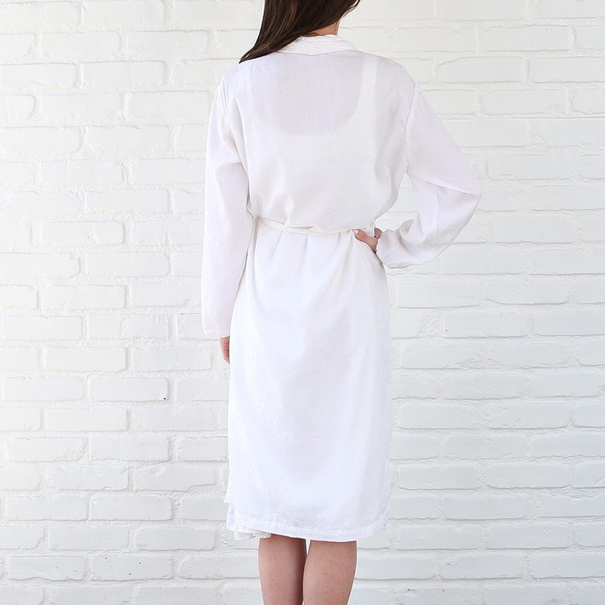 White cotton Silk Jacquard Robe