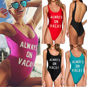 ALWAYS-ON-VACAY-Monokini-One-Piece-Bodysuit-Bikini-Swimsuit-Bathing-Suit-Beachwear