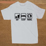 eat sleep travel t shirt tee fashion clothing inspired womens men o neck white