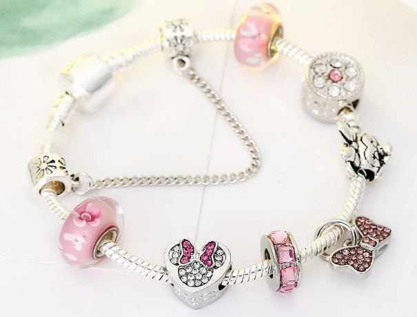 minnie; accessories; charm; bracelet; gift; pandora; handmade; customize; pendant; metal; women; women accessory; ladies; girls; disney; jewelry; bangles;