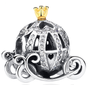 cinderella pumpkin carriage charm fits pandora bracelets leather rope mix and match bangles cute disney accessories