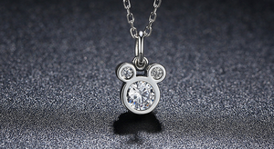 disney necklace minnie mouse mickey pendant charm pandora alex and ani jewelry fashion 925 silver sterling plated cubic zirconia cz matching set